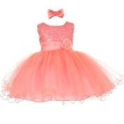Baby Girls Coral Sequin Tulle Ballerina Flower Girl Headband Dress 24M