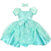 Baby Girls Mint Lace Ribbon Headband Special Occasion Christmas Dress 6M