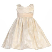 Lito Baby Girls Gold Floral Metallic Jacquard Sash Christmas Dress 12-18M