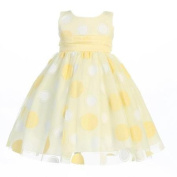 Lito Baby Girls Yellow Glittered Polka Dot Tulle Easter Dress 6-12M