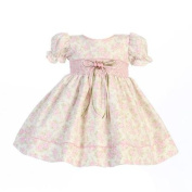 Lito Baby Girls Pink Floral Print Smocked Waist Easter Dress 3-6M