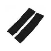 Lady Black Stretchy Fingerless Knitted Sleeve Arm Warmers Long Gloves Pair