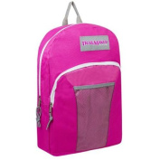 TrailMaker Girls Fuchsia Grey Classic Mesh Pocket School Backpack
