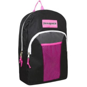 TrailMaker Girls Black Fuchsia Classic Mesh Pocket School Backpack