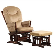 Dutailier C20-82A-62-3091 Platinum Multiposition Reclining 2 Post Glider with Ottoman in Coffee and Light Brown