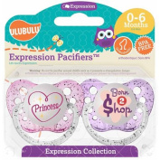 Ulubulu Pacifiers for Girls, Princess and Born 2 Shop, 0-6 Months