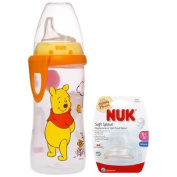 NUK Disney Winnie the Pooh 300mls Active Cup Silicone Spout with NUK Replacement Silicone Spout, Clear