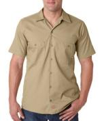 Dickies LS535 Mens Short-Sleeve Industrial Poplin Work Shirt - Desert Sand Medium