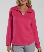 LAT 3764 Ladies French Terry Quarter-Zip Pullover T-Shirt Hot Pink 2XL