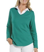 LAT L3761 Ladies Lightweight French Terry V-Neck Pullover - Jade Medium