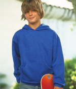 LAT L2296 Youth Fleece Hooded Pullover Sweatshirt with Pouch Pocket - Vintage Royal Large