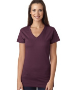LAT L3607 Juniors Fine Jersey V-Neck Longer Length T-Shirt - Eggplant Large