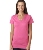 LAT L3607 Juniors Fine Jersey V-Neck Longer Length T-Shirt - Raspberry Sorbet Extra Large