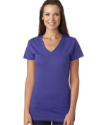LAT L3607 Juniors Fine Jersey V-Neck Longer Length T-Shirt - Purple Small