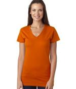 LAT L3607 Juniors Fine Jersey V-Neck Longer Length T-Shirt - Orange 2XL