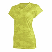 Safety Green Camo Champion Womens Essential Double Dry V-Neck Tee - Size M