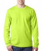 Bayside 8100 Adult Long-Sleeve Tee with Pocket - Lime Green 2XL