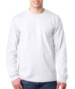 Bayside 8100 Adult Long-Sleeve Tee with Pocket - White Medium