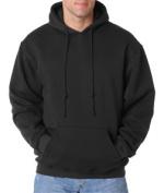 Bayside B960 Adult Hooded Pullover Fleece - Black Large