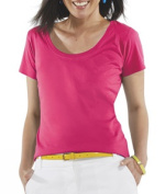 LAT 3504 Ladies Fine Jersey Deep Scoop Neck Longer Length T-Shirt Hot Pink 2XL