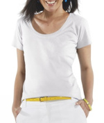 LAT 3504 Ladies Fine Jersey Deep Scoop Neck Longer Length T-Shirt White Medium