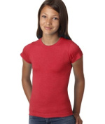 LAT 2605 Girls Vintage Longer Length T-Shirt Red Extra Large