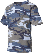 Code V 2206 Youth Camo T-Shirt Blue Woodland - Medium