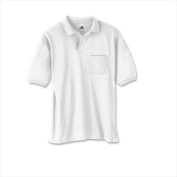 Hanes 504 Cotton-Blend Jersey Mens Polo With Pocket Size Medium White