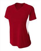 A4 NW3223 Womens Colour Block Performance V-Neck T-Shirt Cardinal & White - Small