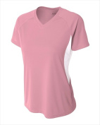 A4 NW3223 Womens Colour Block Performance V-Neck T-Shirt Pink & White - Large