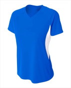 A4 NW3223 Womens Colour Block Performance V-Neck T-Shirt Royal & White - 2X