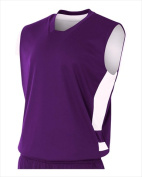 A4 NB2349 Youth Reversible Speedway Muscle Tee Purple and White Small