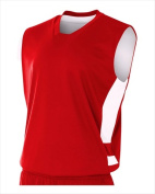 A4 NB2349 Youth Reversible Speedway Muscle Tee Scarlet and White Extra Large