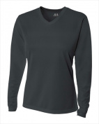 A4 NW3255 Womens Long Sleeve V-Neck Birds Eye Mesh Tee Graphite Extra Small