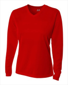 A4 NW3255 Womens Long Sleeve V-Neck Birds Eye Mesh Tee Scarlet Red Small