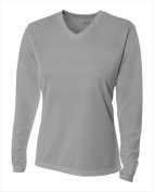 A4 NW3255 Womens Long Sleeve V-Neck Birds Eye Mesh Tee Silver Medium