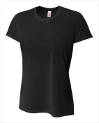 A4 NW3264 Womens Spun Poly Tee Black Extra Small