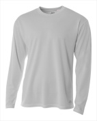 A4 N3253 Long Sleeve Crew Birds Eye T-shirt Silver - Medium