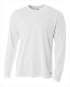 A4 N3253 Long Sleeve Crew Birds Eye T-shirt White - Small
