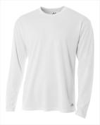 A4 N3253 Long Sleeve Crew Birds Eye T-shirt White - Small