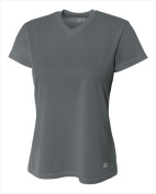 A4 NW3254 Womens Birds Eye Mesh V-Neck T-shirt Graphite - 2X