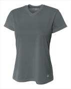 A4 NW3254 Womens Birds Eye Mesh V-Neck T-shirt Graphite - 2X