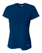 A4 NW3254 Womens Birds Eye Mesh V-Neck T-shirt Navy - XS