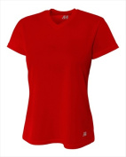 A4 NW3254 Womens Birds Eye Mesh V-Neck T-shirt Scarlet Red - Extra Large