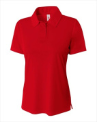 A4 NW3261 Womens Solid Interlock Polo T-Shirt Scarlet Red - 2X