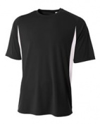 A4 N3181 Cooling Performance Colour Block Short Sleeve Crew Black & White - Small