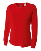 A4 NW3002 Womens Long Sleeve Cooling Performance Crew Scarlet Red - Extra Small