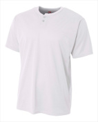 A4 N4130 Adult 2 Button Mesh Henley - White Size 2X