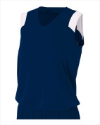 A4 NW2340 Womens Moisture Management V-Neck Muscle - Navy & White Small