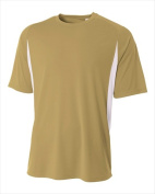 A4 N3181 Cooling Performance Colour Block Short Sleeve Crew Vegas Gold-White - Small